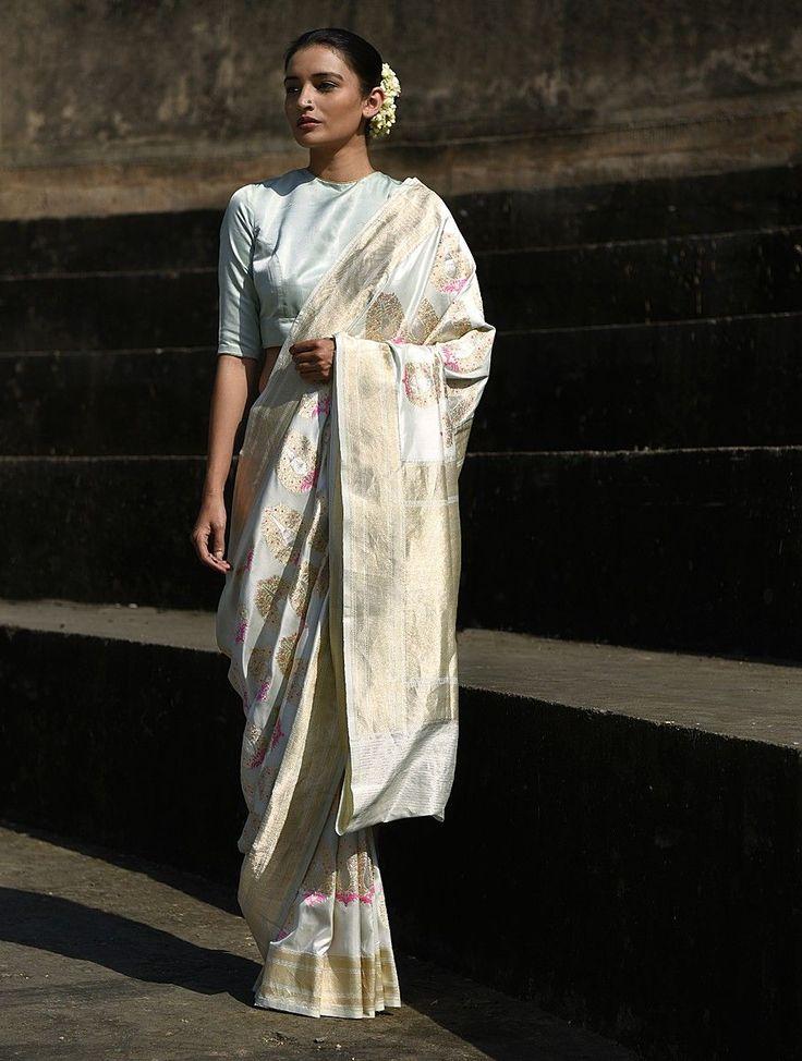 Buy Ivory Handwoven Benarasi Silk Saree Online at Jaypore.com
