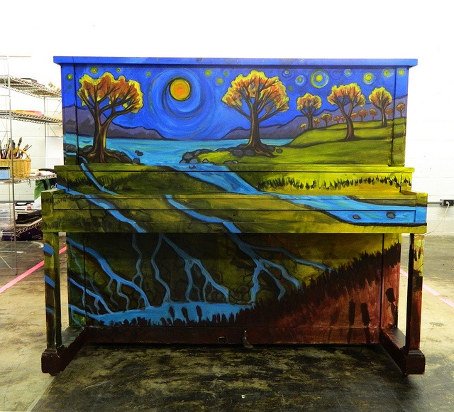 Piano Painted By Artist Erik Strom In Greensboro Nc