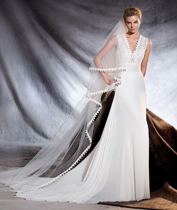 OROBIA - Robe de mariée en gaze, guipure et tulle à décolleté en V
