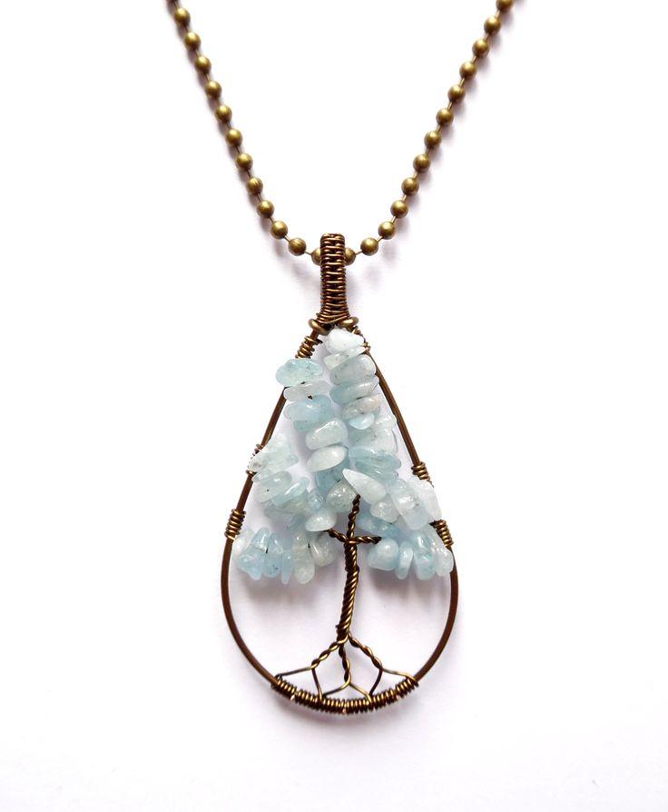 Halsband i brons med livets träd av aquamarin.  Varje smycke är unikt.  Kulkedja…