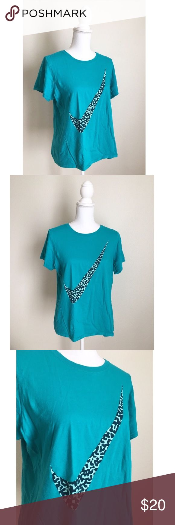 NIKE Leopard Swoosh Tee New! ✨ NIKE Favorite Tee - Blue tee with leopard swoosh across the front ✨ Size XL Nike Tops