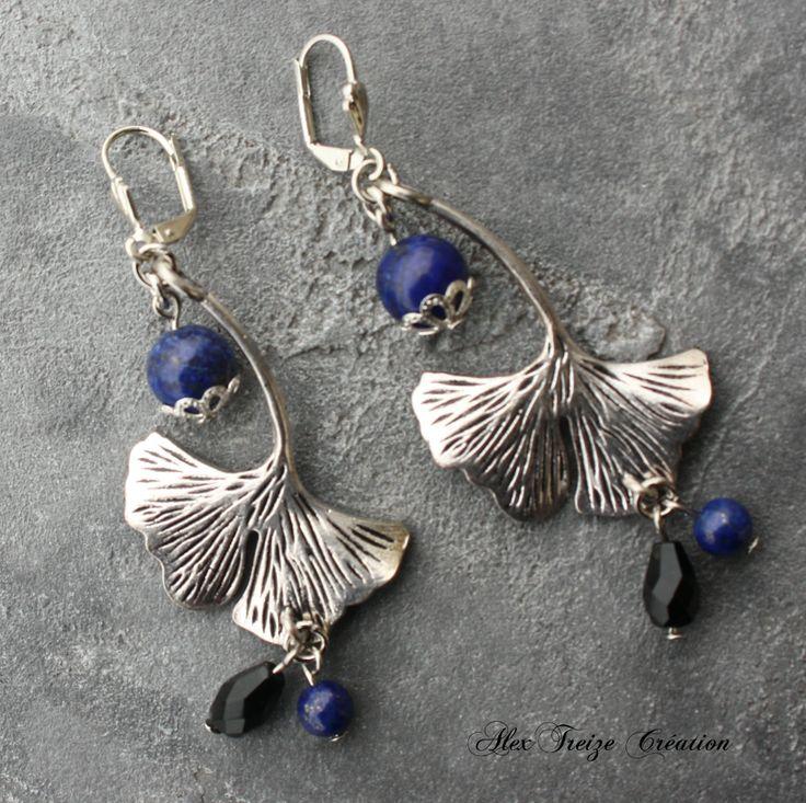 Boucles d'oreilles argentées - Perles semi-précieuses Lapis Lazuli, Facettes de Bohême noires et pendentifs breloques feuille Ginkgo