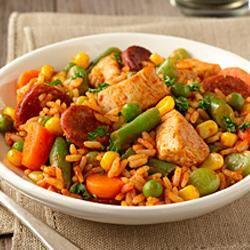 Quick Chicken Paella http://allrecipes.com/recipe/quick-chicken-paella/
