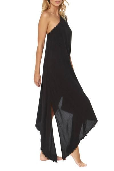 745adba0d3 Chic Style Her Fashion Black One-Shoulder Maxi Beach Cover-Up Dress ...