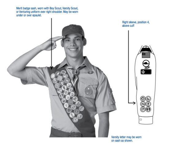 What restrictions are placed on the Boy Scout merit badge sash? In what order should they be sewn on? Those questions and more answered here.