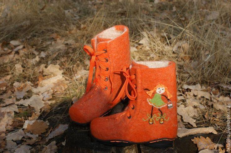 """Купить Детские ботинки из овечьей шерсти """"Ася и Алиса"""" - обувь ручной работы, валенки для улицы"""