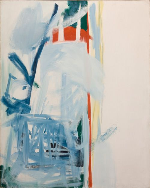 Calm Air (1961) by Peter Lanyon. Turbulent air on the edge of a thermal pushes and shakes the glider, but once it breaks through the outer belt smooth rising air can lift it swiftly and effortlessly. The breach in the vertical red line may be the glider breaking through.