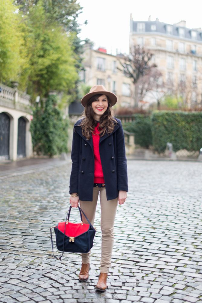 Mode And The City - www.modeandthecity.net  Montmartre, Paris. Red, navy and preppy.