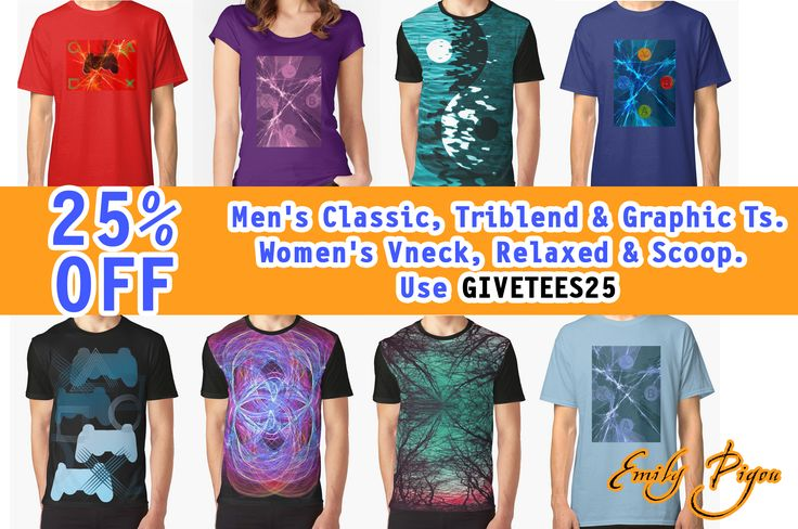 25% off Men's Classic, Triblend & Graphic Ts. Women's V-neck, Relaxed & Scoop. All designs by Emily Pigou   Use GIVETEES25 #buychristmasgifts #Xmas #ChristmasGifts #sales #discount #WomensTshirt #MensTshirt #Gifts #redbubble #salesproducts #onlineshopping #shoptshirts #discountproducts #ChristmasShopping