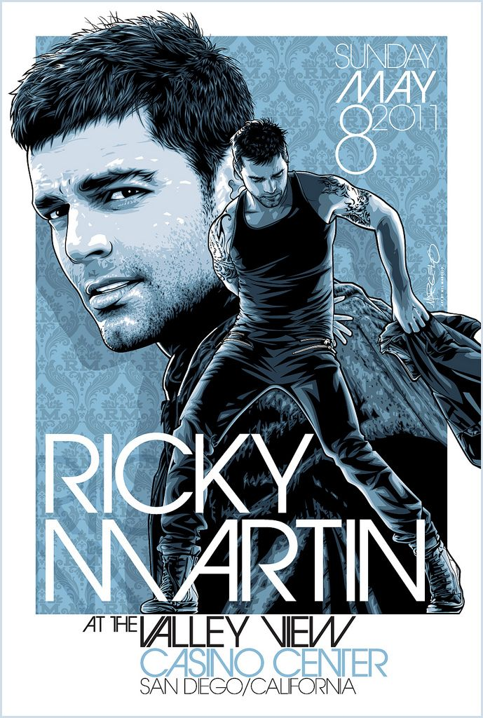 Limited Edition, not-for-retail poster art that I did of Ricky Martin  to commemorate his show at the San Diego Sports Arena on May 8th, 2011.  Referencing publicity photos, I sketched out the artwork in Photoshop CS4 and finalized it in Illustrator CS4.  View the larger sizes to see the linework.