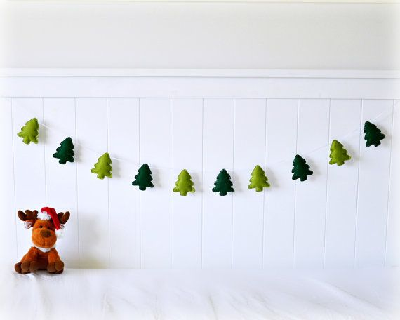 Felt Christmas tree banner/ garland/ bunting - green trees - bedroom decor - party decoration - nursery decor