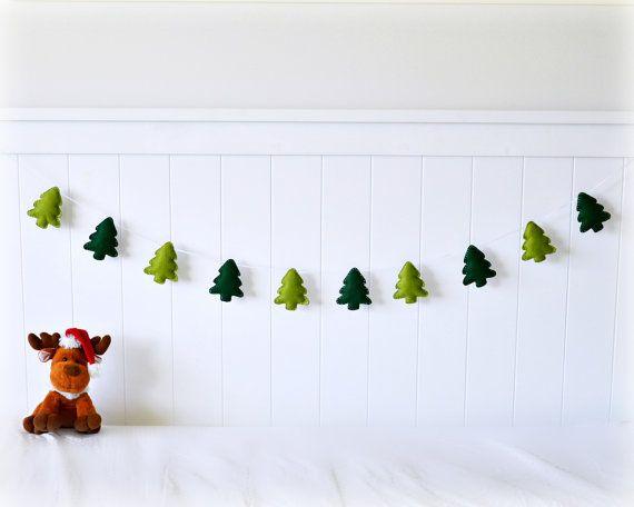 Felt Christmas tree banner/ garland/ bunting - green trees - bedroom decor - party decoration - nursery decor