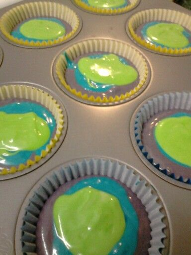 Monsters Inc cupcakes for monsters Inc birthday party -- but I wouldn't do all three colors