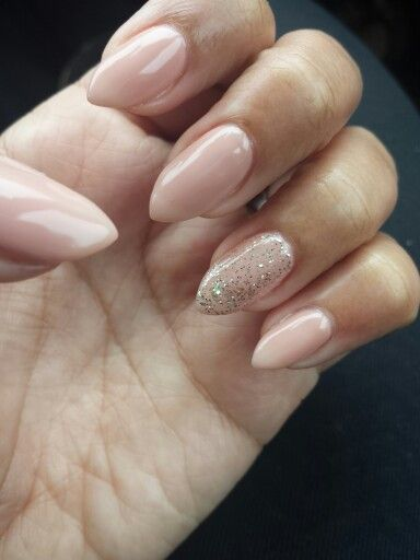 Nude Almond Shape Nails with Glitter