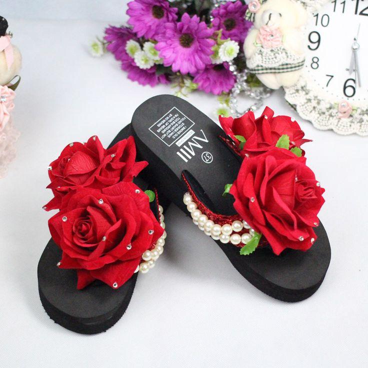 Своими руками роза цветок жемчуг вышивка бисером вьетнамки EVA свободного покроя сладкий женщины сандалии обувь женщина платформа сандалиикупить в магазине smart jennyнаAliExpress