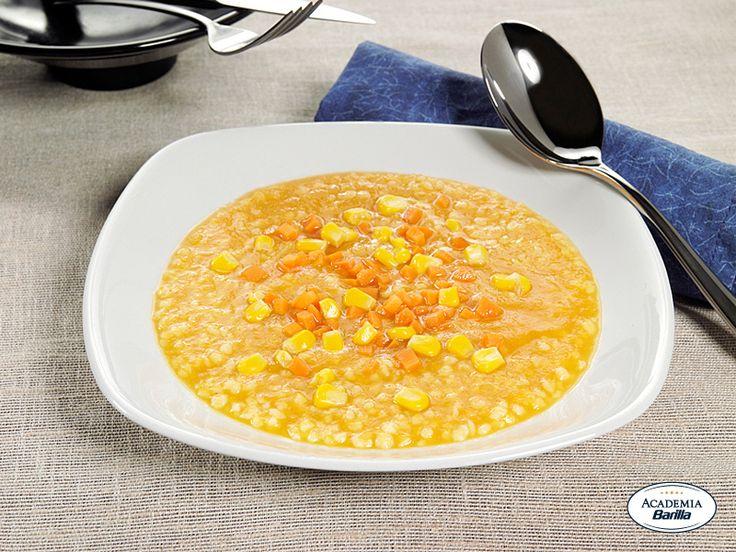 Grattini in zuppa di carote e mais