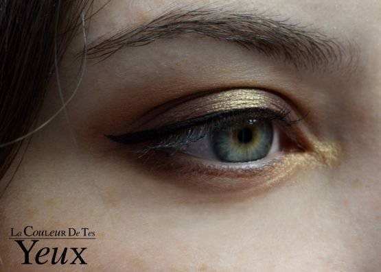 Maquillage d'automne prune et or.