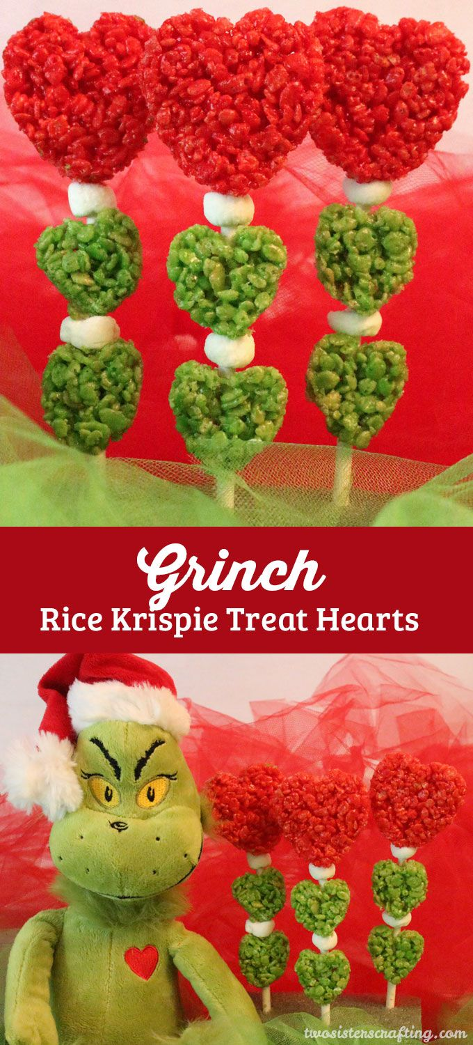 Grinch Rice Krispie Treat Hearts are a super fun and very easy to make Christmas Treat that is perfect for a How the Grinch Stole Christmas family movie night.  Or how about making them as a fun Christmas Dessert for your annual Christmas Party? Follow us for more fun Christmas Food Ideas.