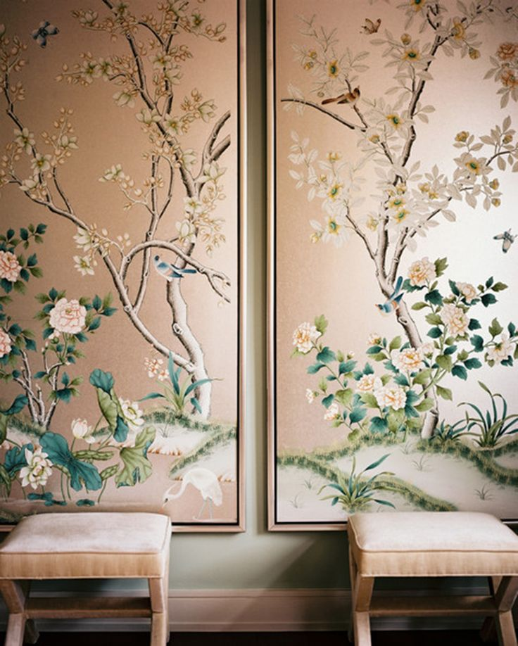 Design Inspiration: Hand painted and Chinoiserie wall panels via This is Glamorous