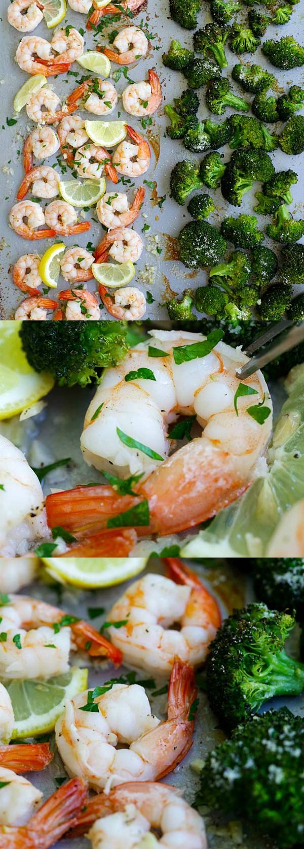Sheet Pan Shrimp Scampi and Roasted Broccoli – the best shrimp scampi and Parmesan broccoli in one pan. So easy, delicious and dinner takes 20 mins to make | rasamalaysia.com