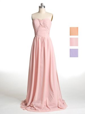 Sweetheart Neck Dusty Pink Floor Length Bridesmaid Gown