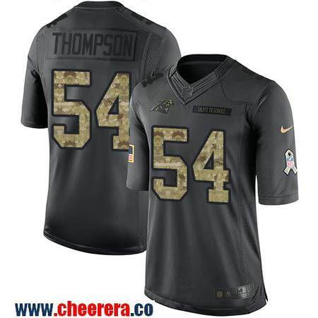 Men's Carolina Panthers #54 Shaq Thompson Black Anthracite 2016 Salute To Service Stitched NFL Nike Limited Jersey
