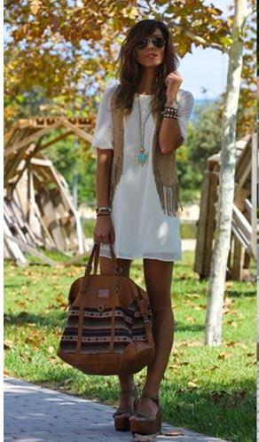 Vestido blanco boho urban