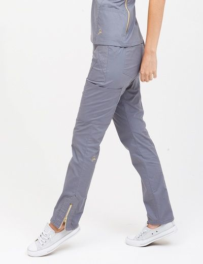 The Moto Pant in Graphite is a contemporary addition to women's medical scrub outfits. Shop Jaanuu for scrubs, lab coats and other medical apparel.