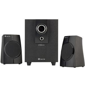 Altavoces 2.1 NGS String. Control de volumen y bajos. +info: http://www.ngs.eu/es/audio/altavoces/ngs-multimedia-2.1-speaker-string/AUDIO/NGS-SPEAKER-0077/