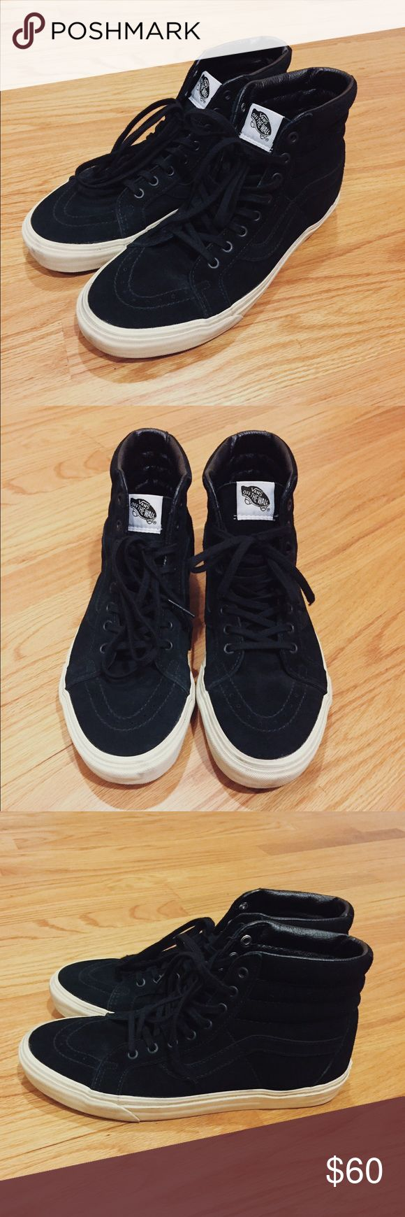J. Crew x Vans skate hi This is a vans collaboration with J. Crew, all black suede with cream mid-sole perfect for your everyday casual/work attire. This is an essential piece for your closet. Vans Shoes Sneakers