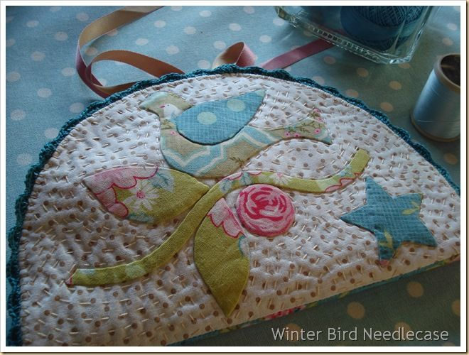 Winter Bird Needlecase--love the quilting stitches! Original pattern source @http://www.stitchersinn.com   If I'm reading it right however the pattern would cost 52.00 in USD converted from 40.00 Euro. Gee I hope I'm wrong!