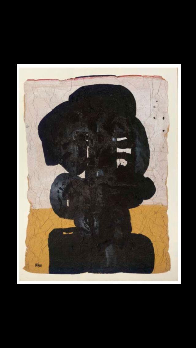 """Ladislas Kijno - """" Sans titre """" - Acrylique sur papier froissé - 121 x 85 cm"""