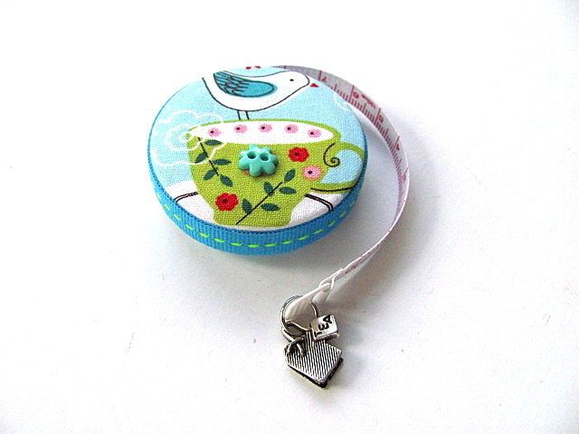 Tape Measure with Tea Cups Retractable Measuring Tape by AllAboutTheButtons, $8.95 USD