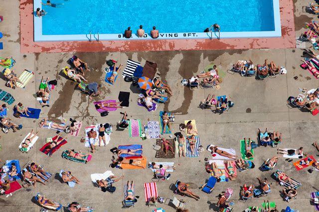 Aerial Photograph of sunbathing people