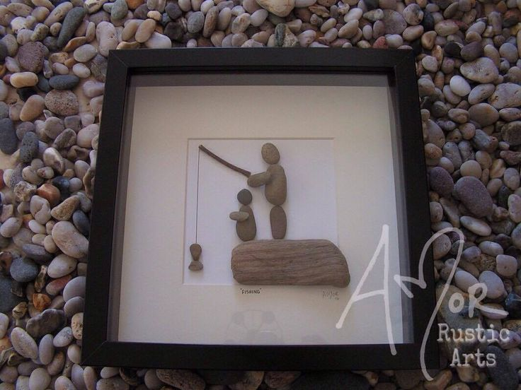 Pebble Art Picture. Unique Gift Idea. Fishing rusitc special occasion. Can be purchased from http://www.amorrusticarts.com/store/c3/Pebble_Pictures.html
