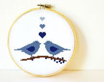 SALE! Counted Cross stitch Pattern PDF. Instant download. Love Birds in Blue. Includes easy beginner instructions.