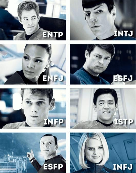 Hmm... well I think Spock is too practical to be intuition, I think he is an ISTJ, and Captain Kirk makes decisions based off his feelings, so ENFP.