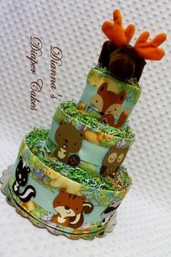 Woodland Animals Baby Diaper Cake Shower Gift or Centerpiece