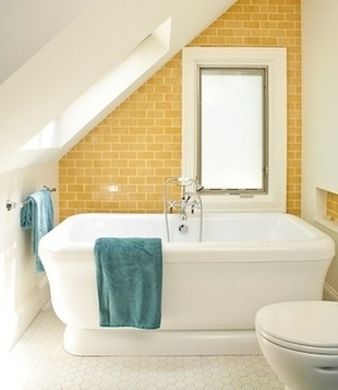 Splash of fun with yellow subway tiles....this could be great for the upstairs master 1/2 bath