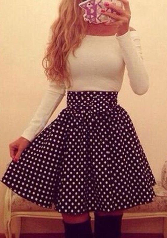 Black Polka Dot Sashes Ruffle Long Sleeve Boat Neck Dress