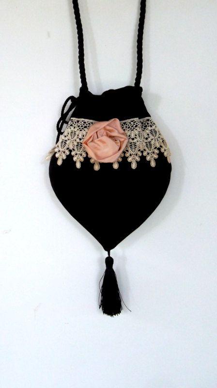 Lace and Rosette Victorian Black Velvet Teardrop Bag  Mori Girl Bag  Evening Bag Purse