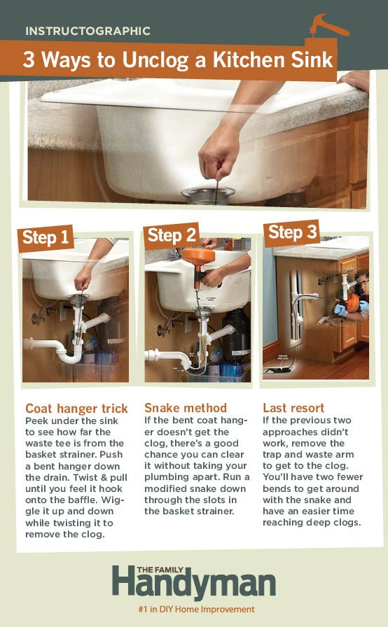 DIY Tutorial: How to Unclog a Kitchen Sink. Learn three ways to unclog a stubborn kitchen sink. We'll show you how to find and remove the clog.