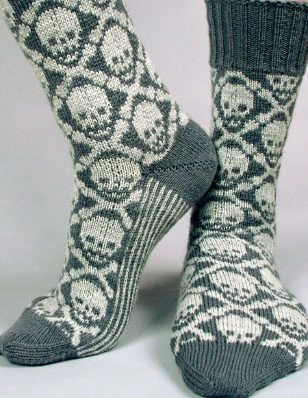 Hot Crossbones Socks - Knitting Patterns and Crochet Patterns from KnitPicks.com