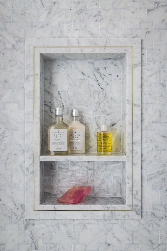 Inset marble shower nook
