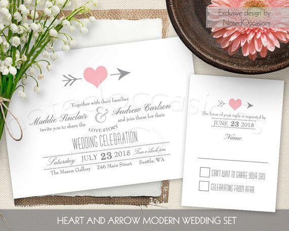 Charming Rustic Wedding Invitations Set Blush Pink Heart Wedding Invitations  Printable Wedding Suite Heart Arrow Romantic Digital