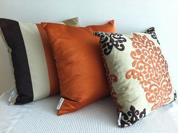 SET of 3 Damask orange dark brown and otter designer fabric cushion covers Slip & Best 25+ Cream cushion covers ideas on Pinterest | Cream pillow ... pillowsntoast.com