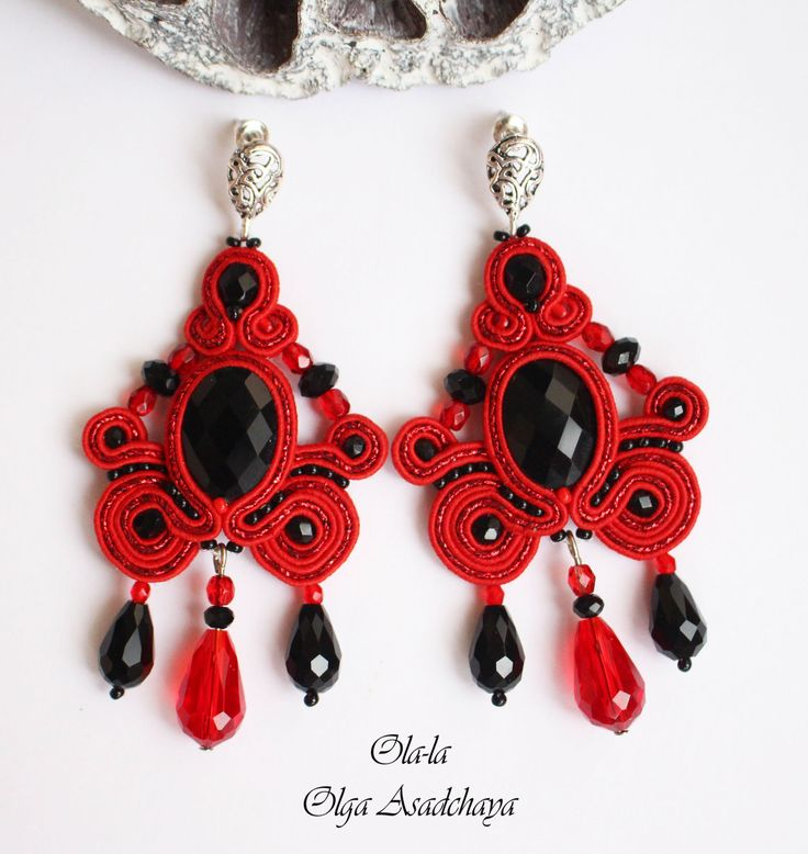 "Earrings ""Flamenco"" soutache, crystal rhinestones, crystal and glass beads, Czech glass beads"