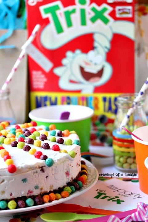 Trix Ice Cream Cake | Easy to make, this ice cream cake uses Trix cereal for a bright, colourful cake to celebrate any occasion!