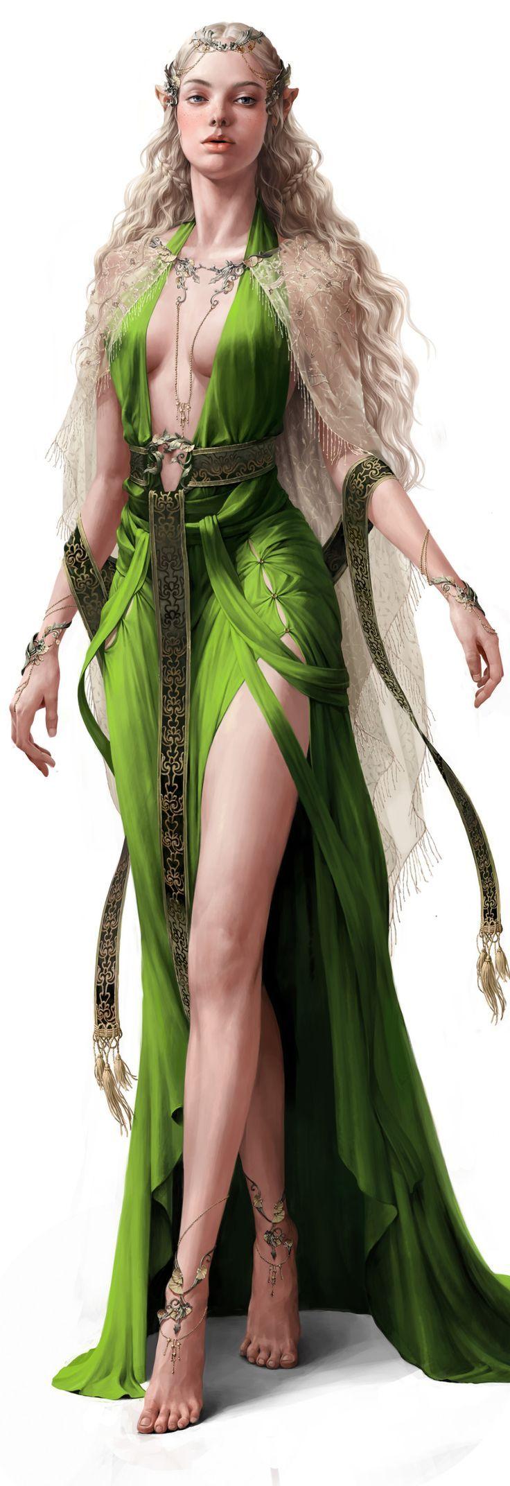 character elf elfic priestess realistic concept cloth forest mature jewels Prêtresse elfique d'Elhrÿn, Gaevaudania.