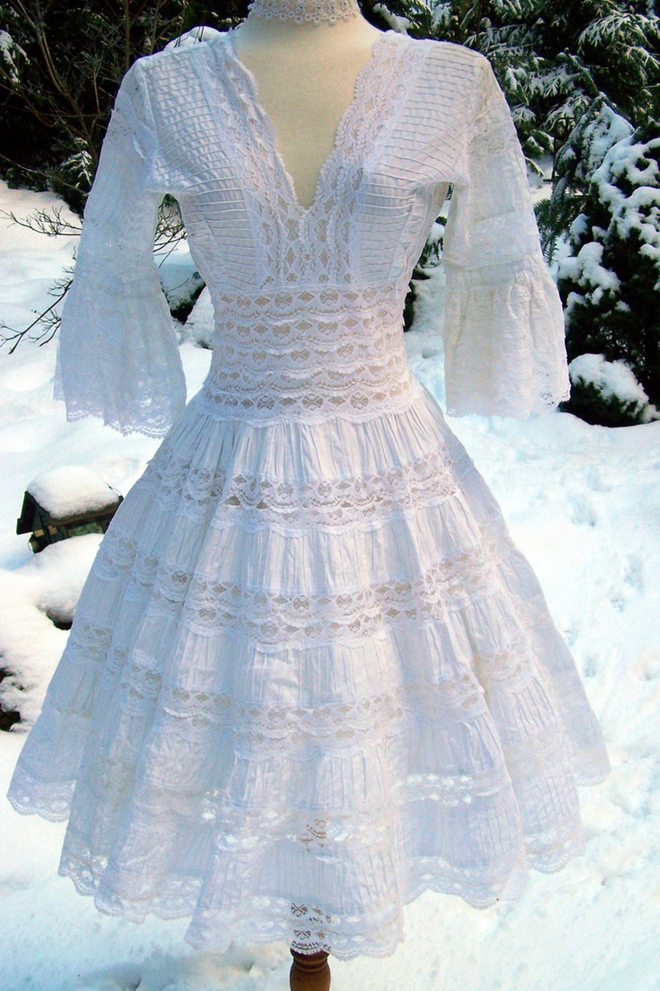 Vintage Lillie Rubin Pin Tuck Cotton and Lace Sweet Wedding-Bridal-Party-Garden-Prom Dress. $300.00, via Etsy.